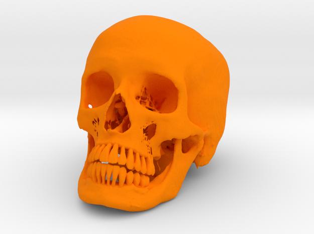 Jack-o'-lantern skull from CT scan, half size in Orange Processed Versatile Plastic
