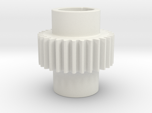 Gear Mn=2 Z=30 Pressure Angle = 20° with keyway in White Natural Versatile Plastic