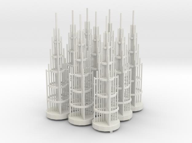 Tower Antennae Sprued in White Natural Versatile Plastic