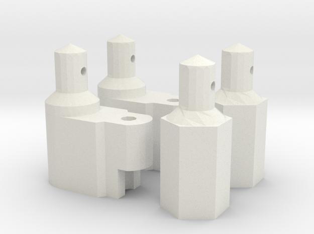 Yokomo (870C/YZ-10) Battery Mounts Set - 4pcs in White Strong & Flexible
