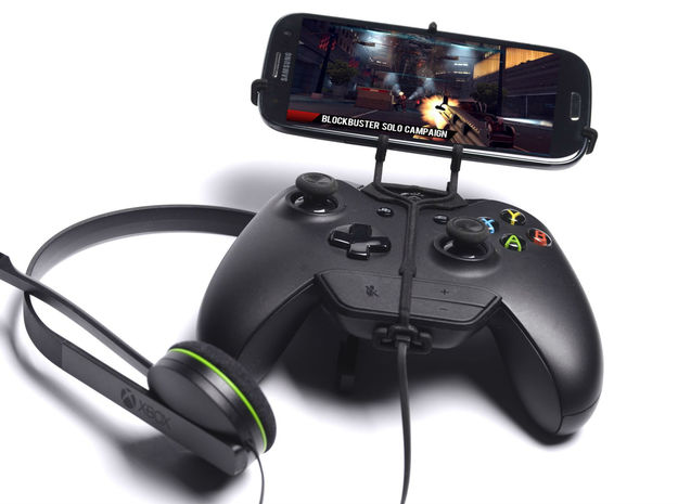 Xbox One controller & chat & Samsung Galaxy Core I 3d printed Front View - A Samsung Galaxy S3 and a black Xbox One controller & chat