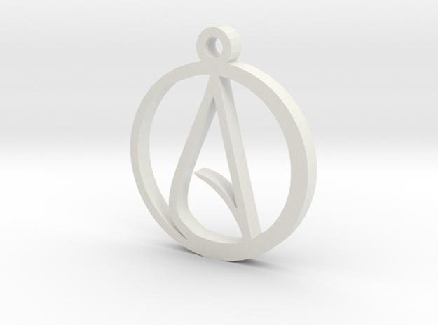 Atheist Pendant Large in White Natural Versatile Plastic