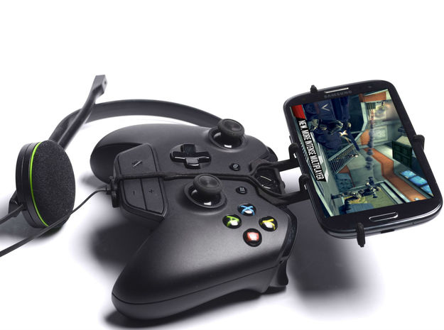 Xbox One controller & chat & HTC One Max 3d printed Side View - A Samsung Galaxy S3 and a black Xbox One controller & chat