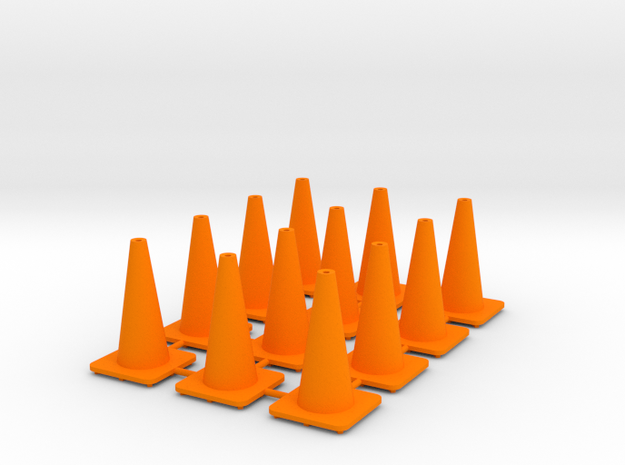 "18"" traffic cones 1/24th (12) in Orange Strong & Flexible Polished"