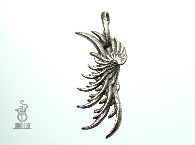 Pendant : Wing in Polished Bronzed Silver Steel