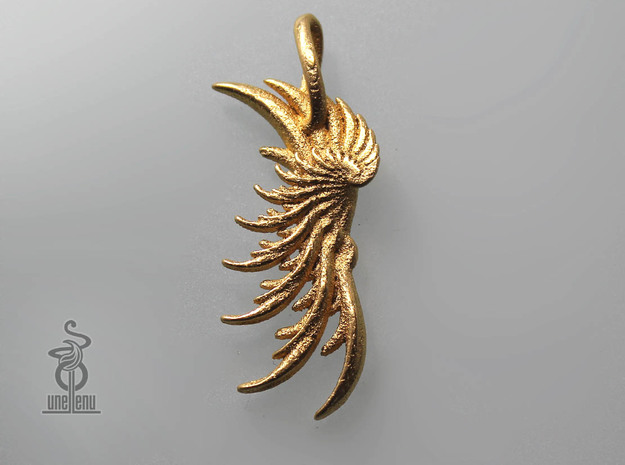 Wing Pendant : Fractal wing design in metal in Matte Gold Steel