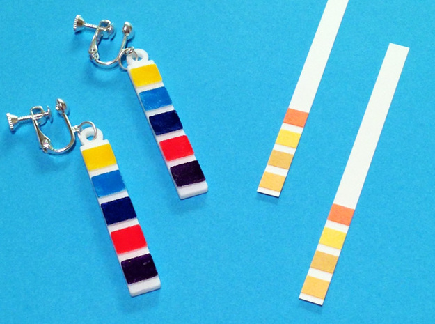 pH Litmus Paper Earrings in White Processed Versatile Plastic