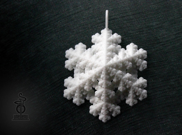 Snowflake fractal pendant / decoration by unellenu in White Natural Versatile Plastic