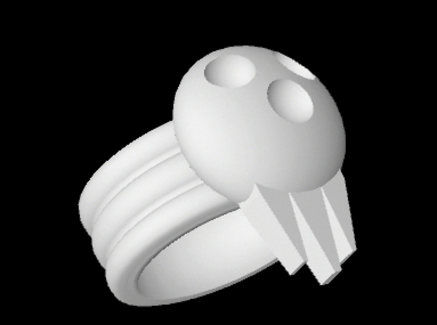 BJD, Triple Band Skull Cosplay Ring, size 10 3d printed