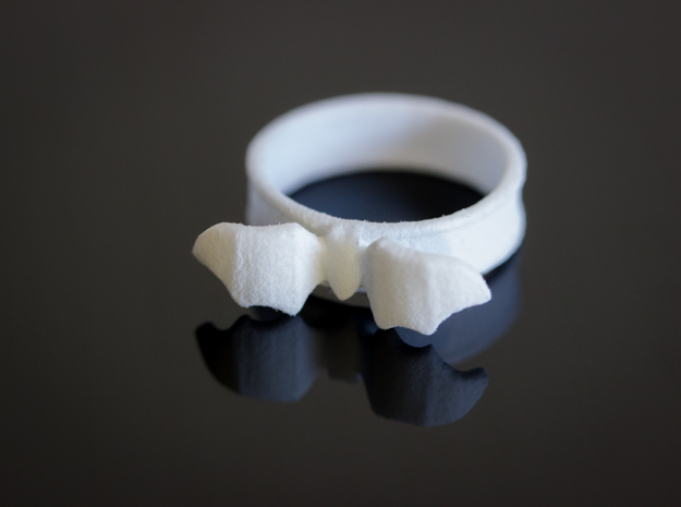 Mid Flight Bat Ring in White Strong & Flexible Polished: 6.5 / 52.75