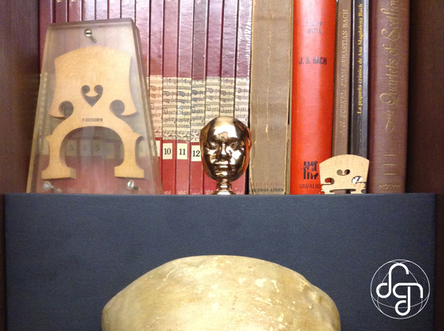 Beethoven's Life Mask [6cm] Hollow 3d printed Use (Front) [Polished Bronze]