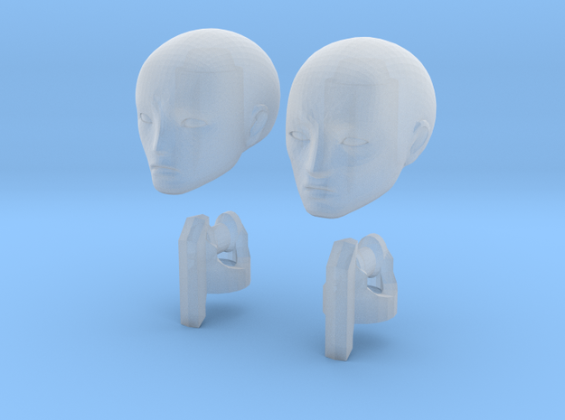 1/20 scale ALPHA EGO BJD, Male extra heads in Smooth Fine Detail Plastic