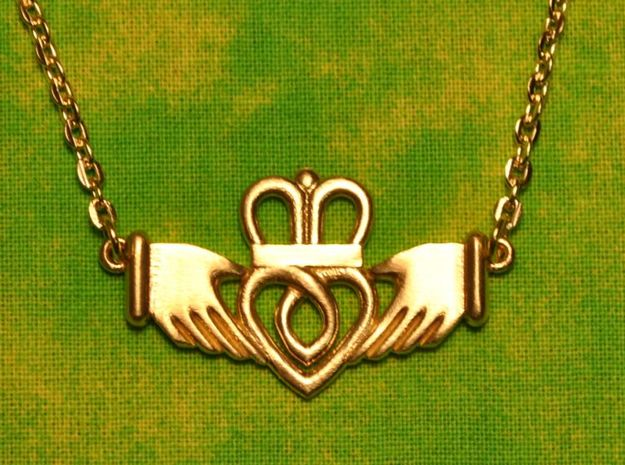 Claddagh Pendant in Natural Brass