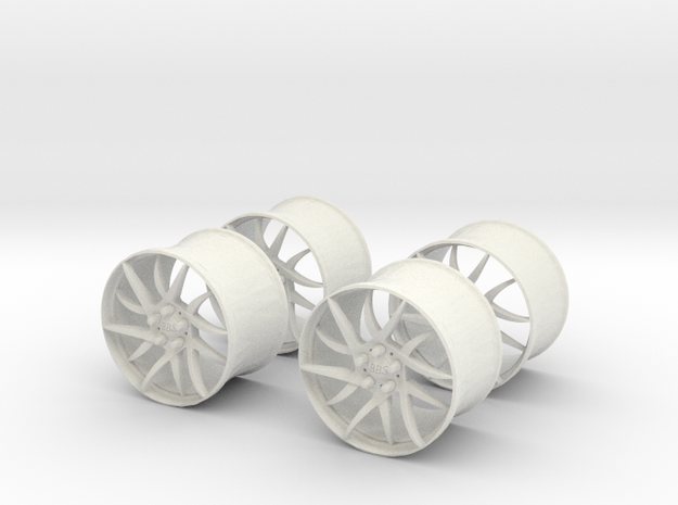 18x12 BBS Wheel Set #1  1/25 Scale in White Natural Versatile Plastic