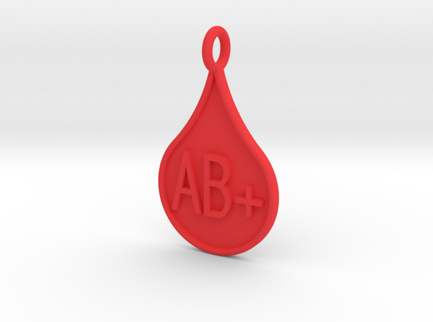 Blood type AB+ in Red Processed Versatile Plastic