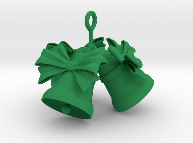 3 Christmas Bells  in Green Processed Versatile Plastic