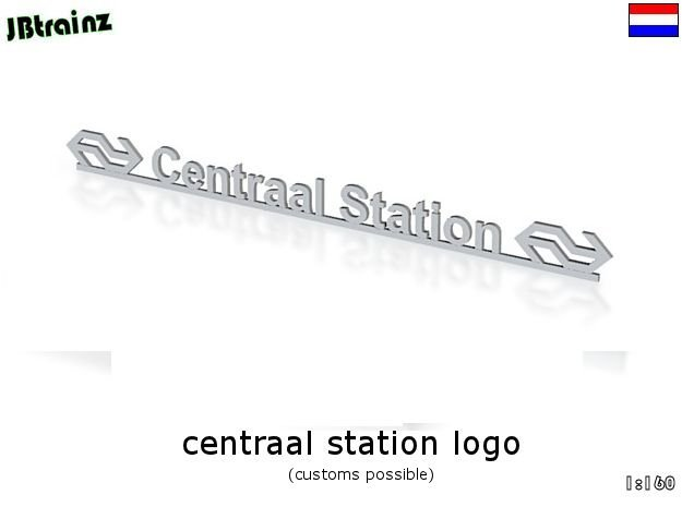 Amsterdam Central Station logo (n-scale) in White Natural Versatile Plastic