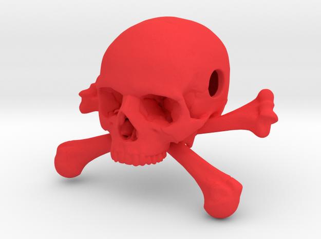 35mm 1.4in Bead Skull & Bones Pendant Crane in Red Processed Versatile Plastic