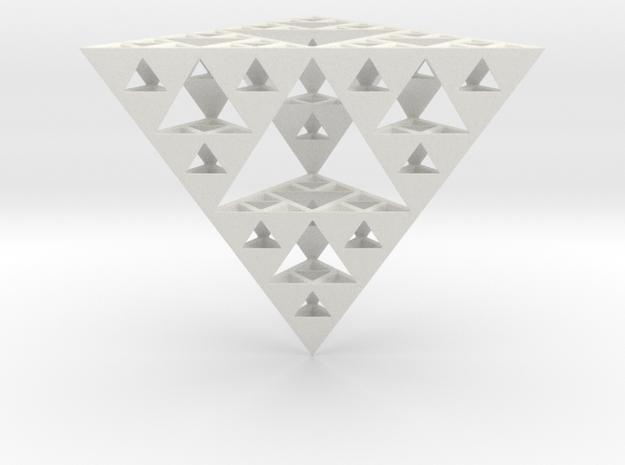 Hollow Sierpinski Tetrahedron in White Natural Versatile Plastic
