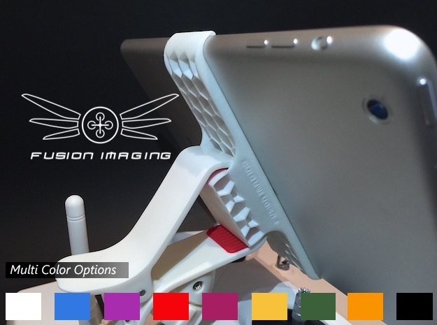 iPad Mini Remote Mount for DJI Phantom in White Strong & Flexible Polished