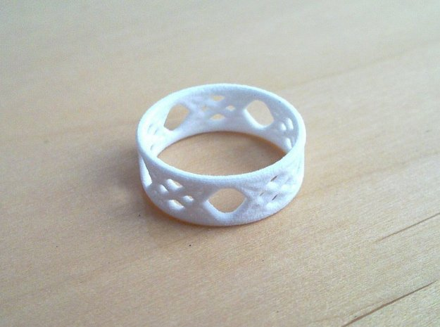 Sine Ring Flat 3d printed Ring printed in White Strong & Flexible