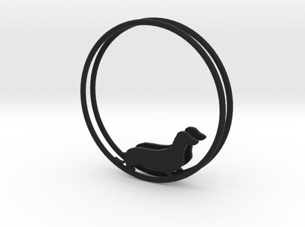 Dachshund Dog Hoop Earrings 40mm in Black Natural Versatile Plastic
