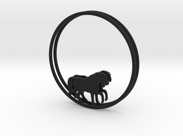Horse Hoop Earrings 40mm in Black Natural Versatile Plastic