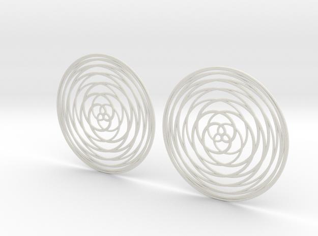 Rose Curve Earrings 60mm in White Natural Versatile Plastic