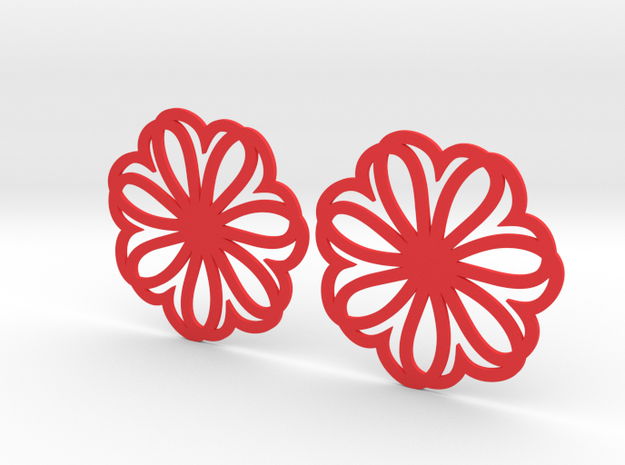 Seven Heart Hoop Earrings 40mm in Red Processed Versatile Plastic