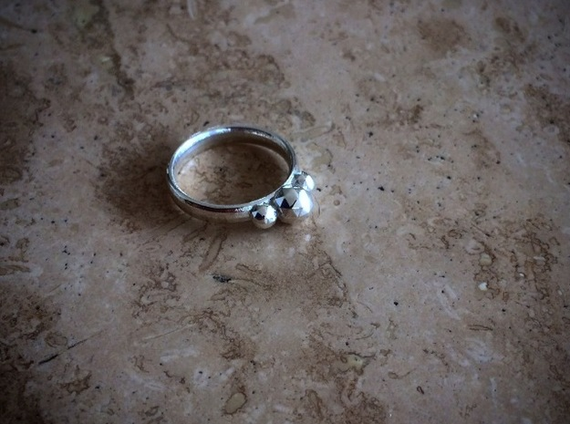 GeoJewel Ring UK Size Q US Size 8 in Polished Silver