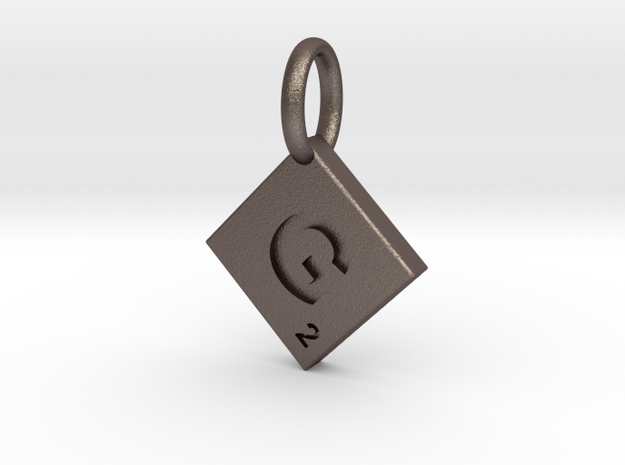 SCRABBLE TILE PENDANT  G in Polished Bronzed Silver Steel