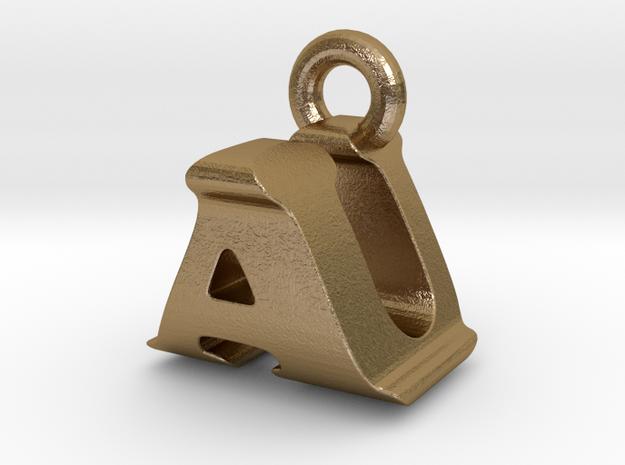 3D Monogram Pendant - AUF1 in Polished Gold Steel