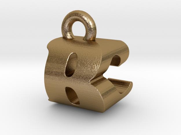 3D Monogram Pendant - BCF1 in Polished Gold Steel