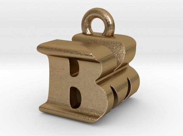 3D Monogram Pendant - BMF1 in Polished Gold Steel