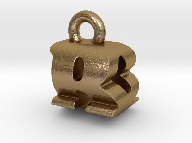 3D Monogram Pendant - BQF1 in Polished Gold Steel
