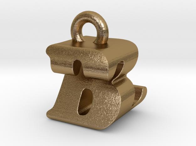 3D Monogram Pendant - BZF1 in Polished Gold Steel