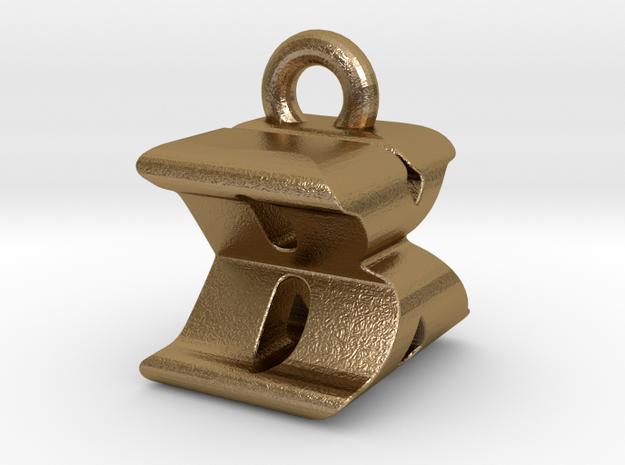 3D Monogram Pendant - BXF1 in Polished Gold Steel
