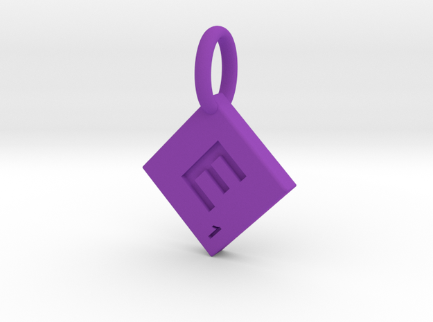 SCRABBLE TILE PENDANT E in Purple Processed Versatile Plastic