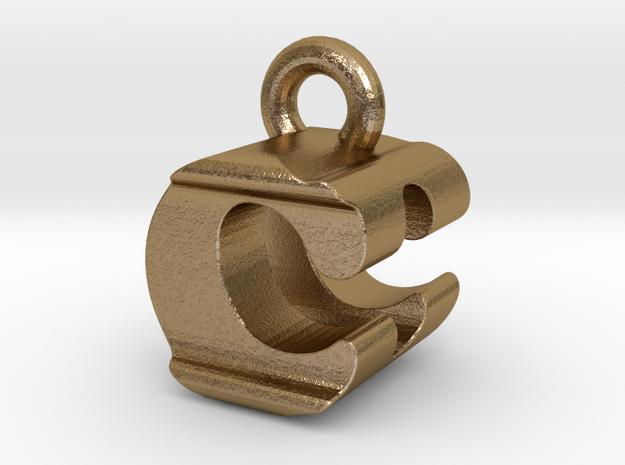 3D Monogram Pendant - CDF1 in Polished Gold Steel