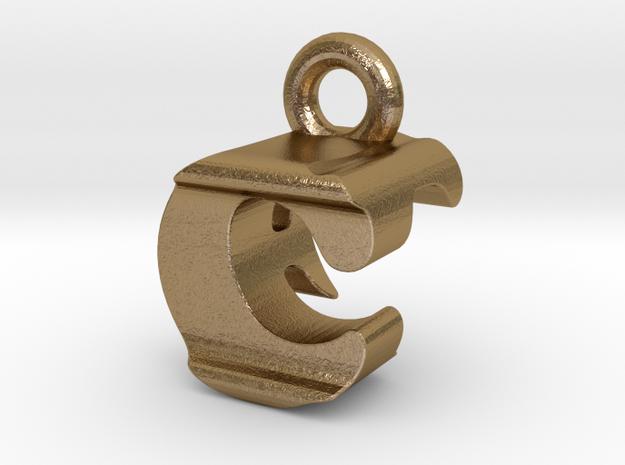 3D Monogram Pendant - CFF1 in Polished Gold Steel