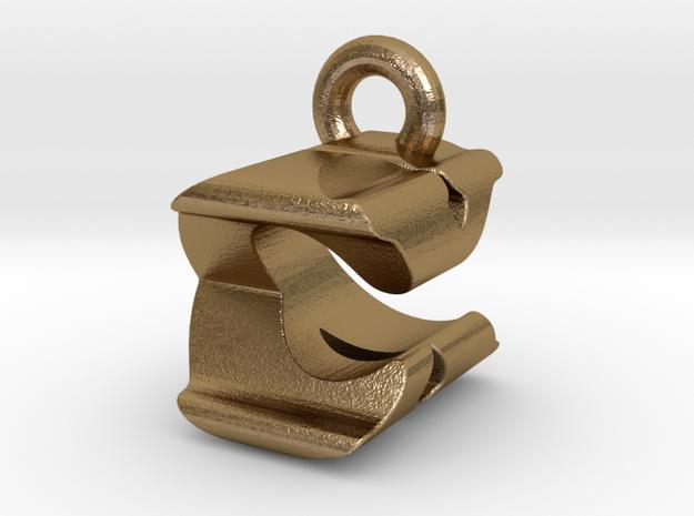 3D Monogram Pendant - CXF1 in Polished Gold Steel