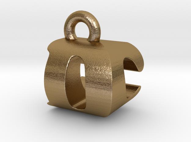 3D Monogram Pendant - DCF1 in Polished Gold Steel
