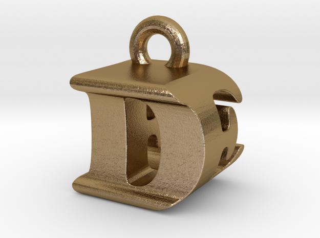 3D Monogram Pendant - DEF1 in Polished Gold Steel
