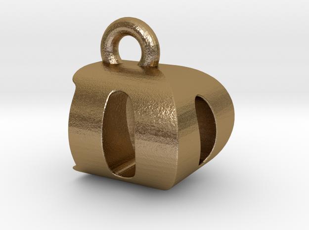 3D Monogram Pendant - DOF1 in Polished Gold Steel