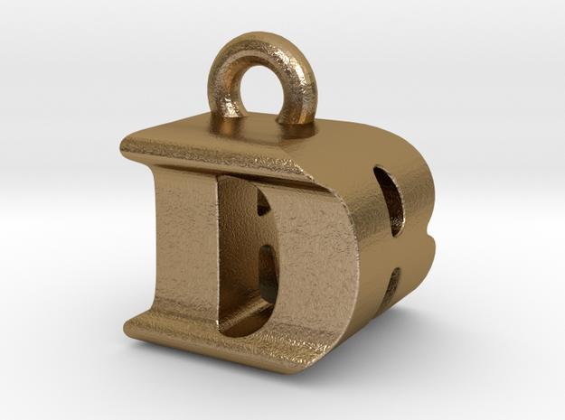 3D Monogram Pendant - DRF1 in Polished Gold Steel
