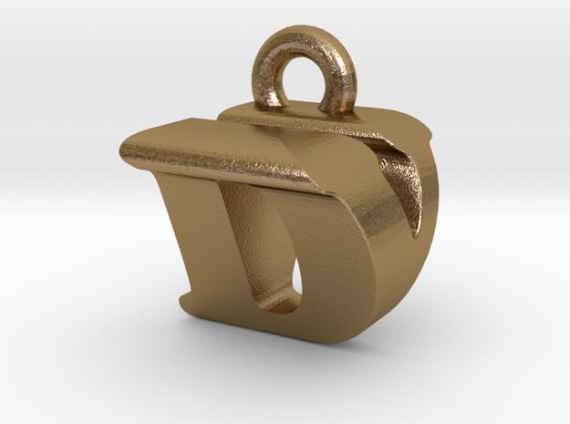3D Monogram Pendant - DVF1 in Polished Gold Steel