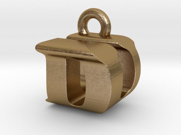 3D Monogram Pendant - DUF1 in Polished Gold Steel
