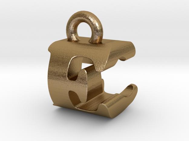 3D Monogram Pendant - ECF1 in Polished Gold Steel