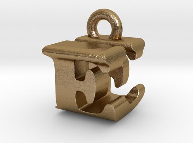 3D Monogram Pendant - EUF1 in Polished Gold Steel