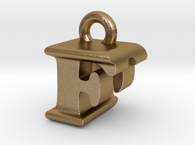3D Monogram Pendant - FDF1 in Polished Gold Steel